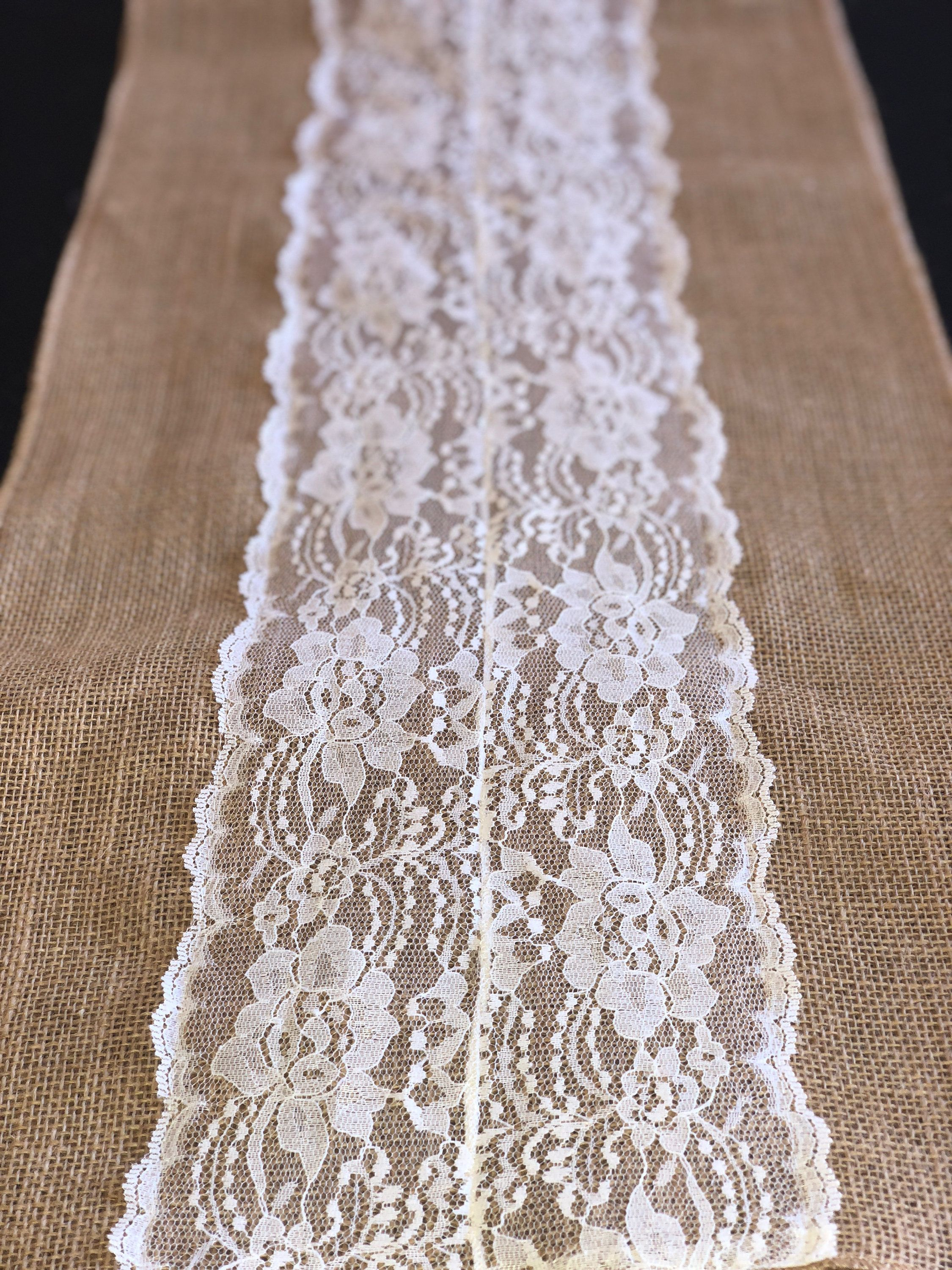 Knitted wedding decorations  Graduation Graduation decor Burlap table runner with lace for