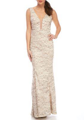 cf805ef6c0e Xscape Women s Long Mesh Lace Gown - Champagne - 8 Lace Patterns
