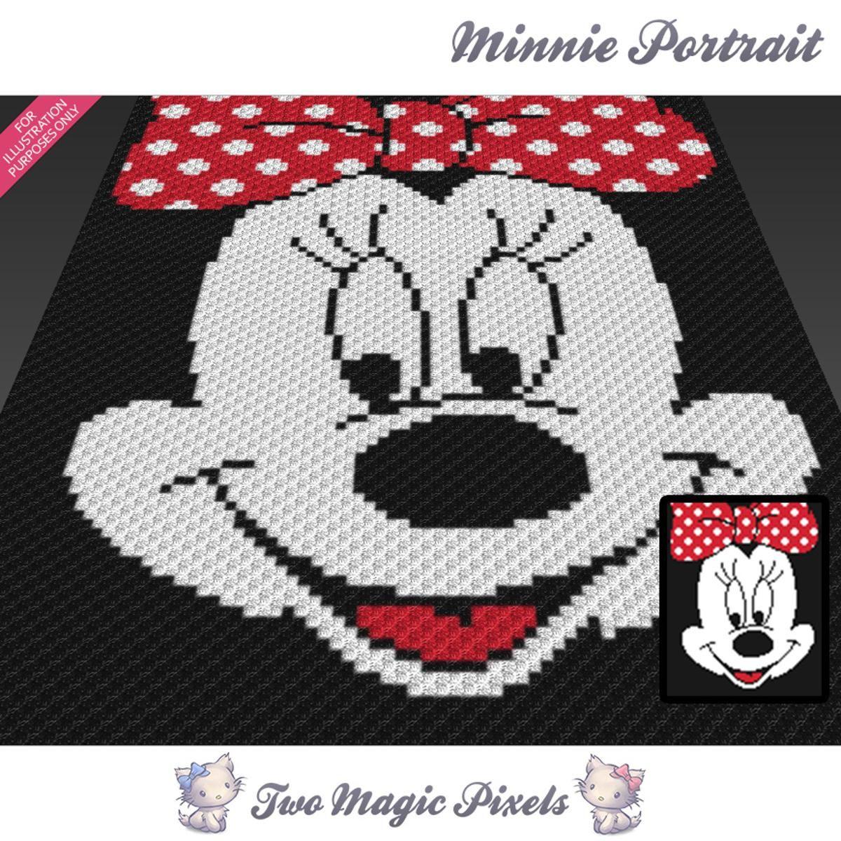 Minnie Portrait C2C Crochet Graph | Colchas, Manta y Puntos