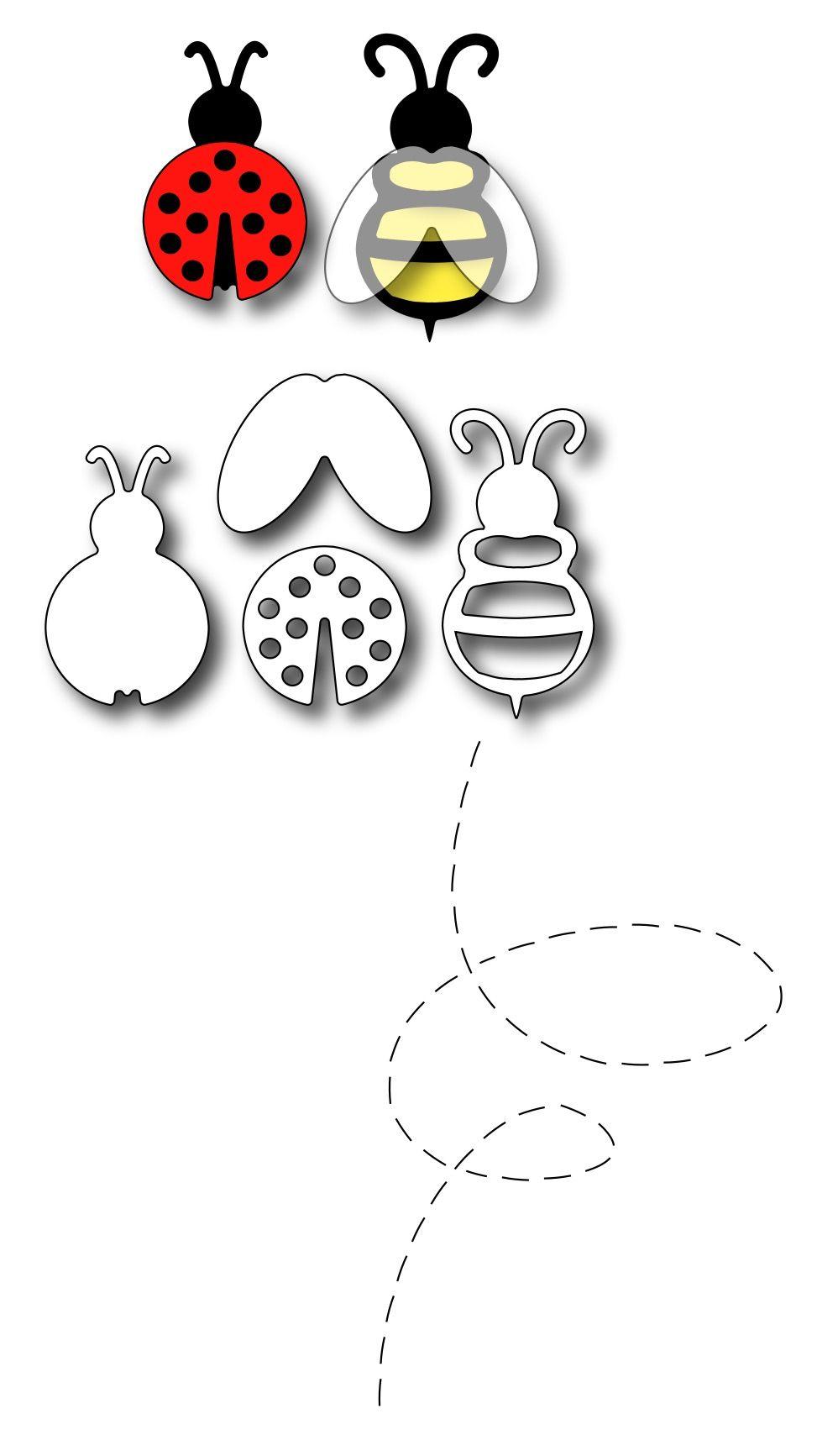 Frantic stamper precision die lady bug and bee set of dies