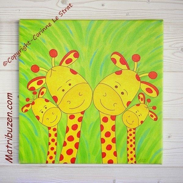 Tableau pour chambre d 39 enfant et b b sur le th me de la savane jungle famille girafes - Toile pour chambre bebe ...
