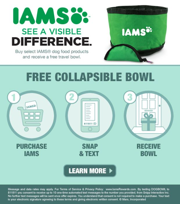 Purchase Iams Dog Food At Walmart Free Collapsible Travel Bowl