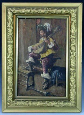AT AUCTION - JAN. 31, 2016: 1840 SIGNED OIL ON WOOD CAVALIER PLAYING LUTE