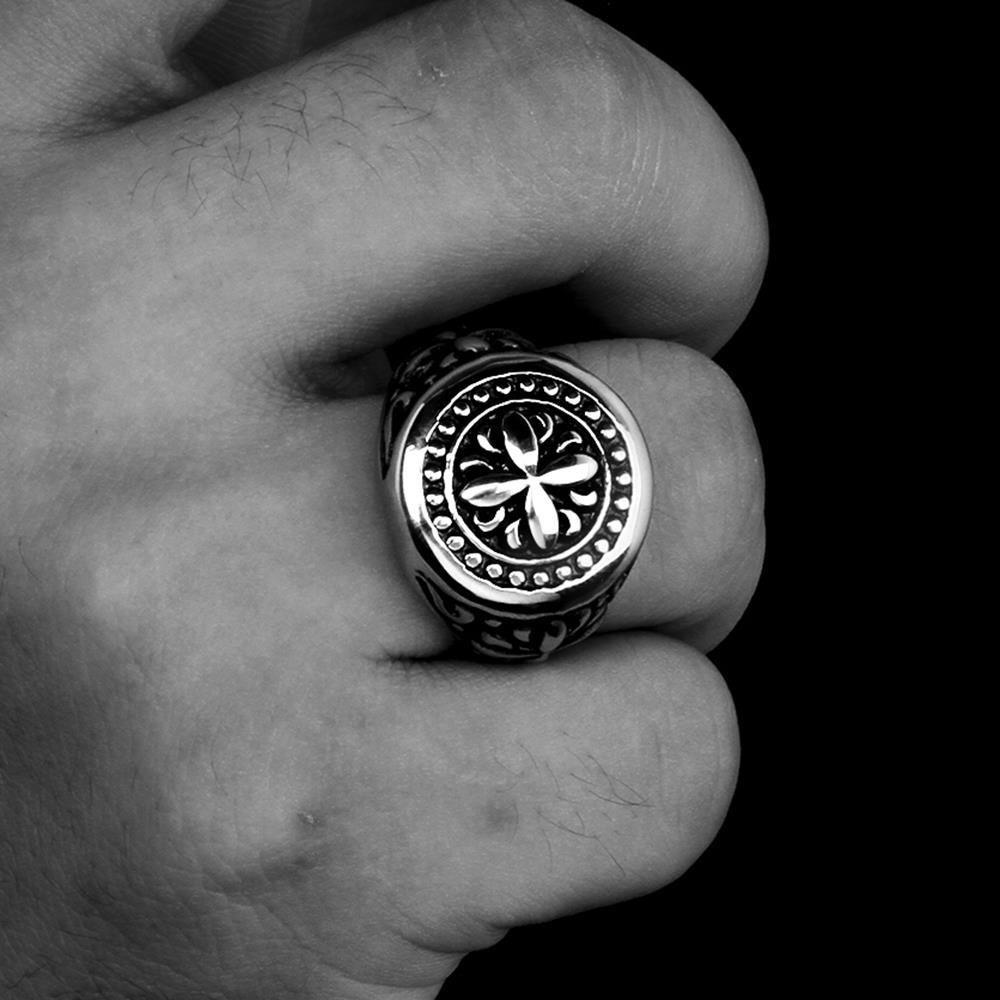 316L stainless steel ring vintage flower design for women GOMAYA®