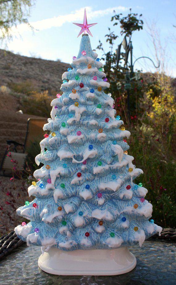 Ceramic Christmas Tree Painting Ideas.17 Ceramic Christmas Tree Window Sill Blue Tree With Snow