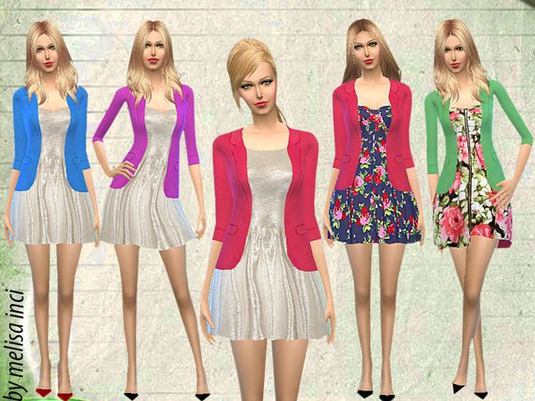The Sims Resource: Jacket With Dress by Melisa_inci • Sims 4