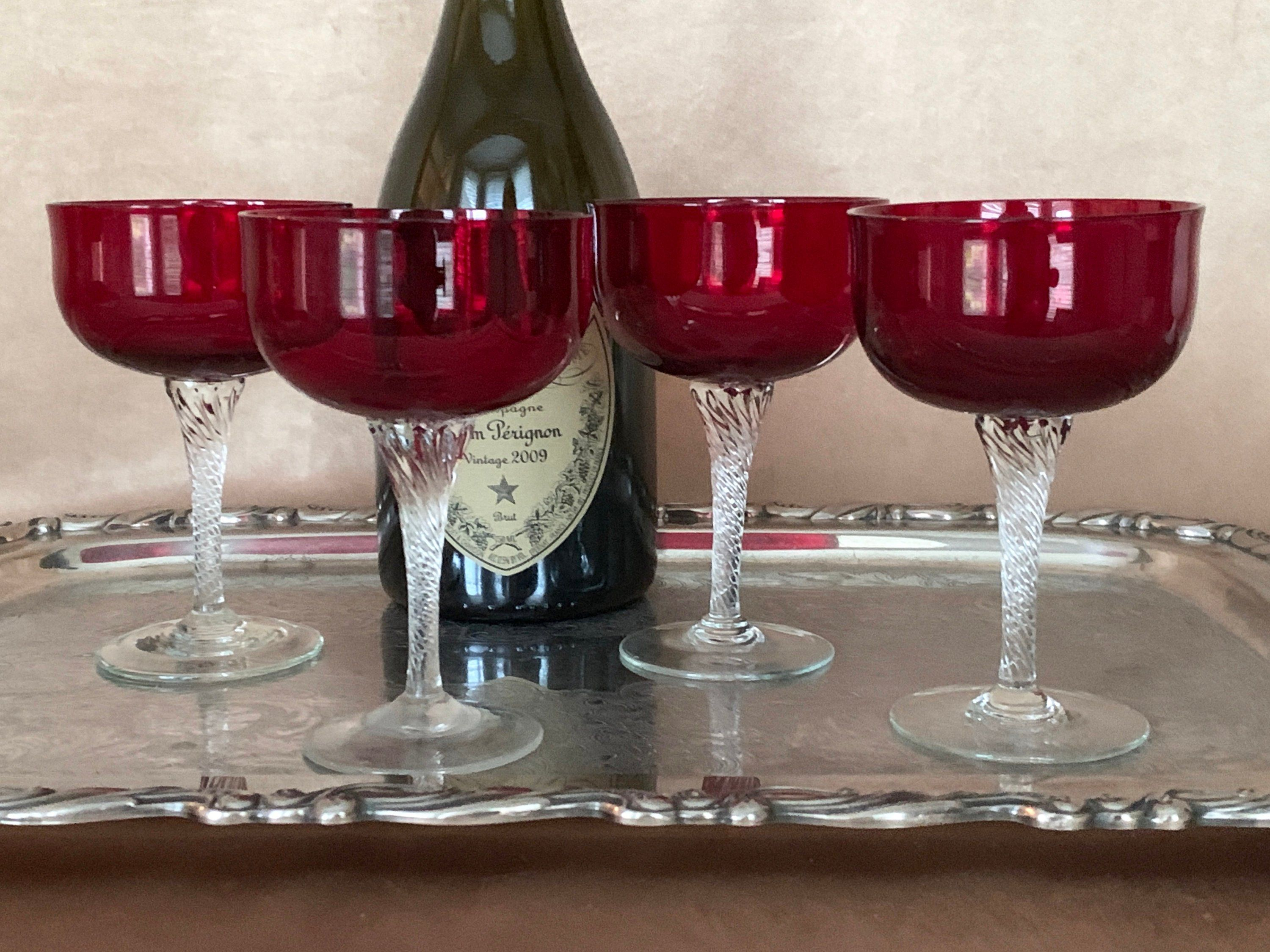 Vintage Ruby Red Champagne Glasses Four Colony Glass Saturn Coupes Red Champagne Champagne Glasses Vintage Champagne