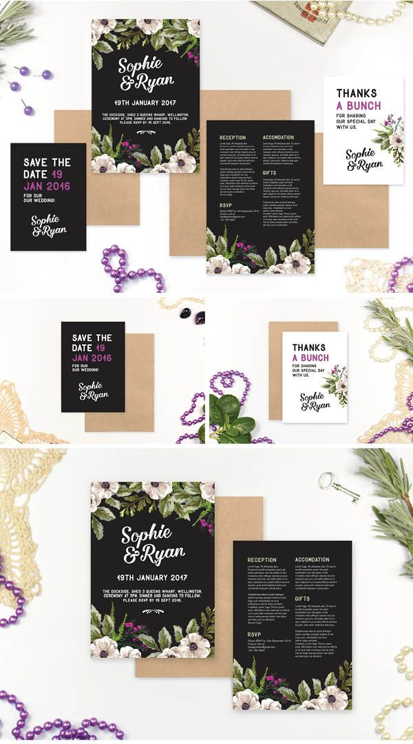 Floral Fame - Wedding Invitation Set by Marie Ockleford Design - flowers black elegant cool purple modern invites kit