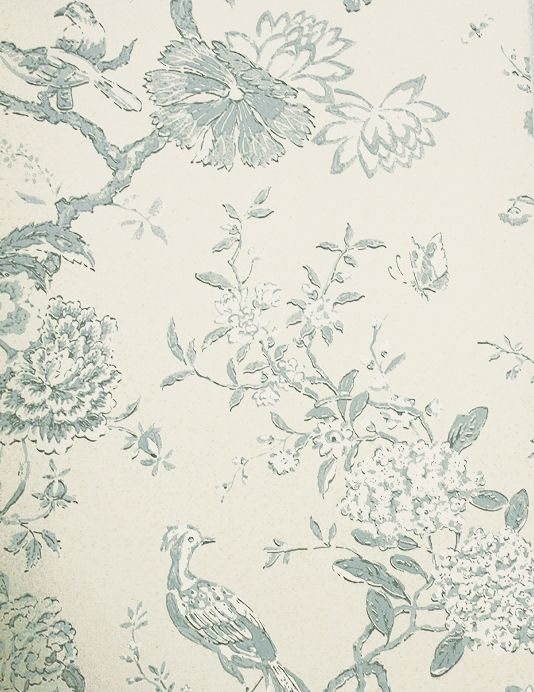 Oriental Bird Wallpaper Beautiful bird and branch design wallpaper in aqua  on cream.