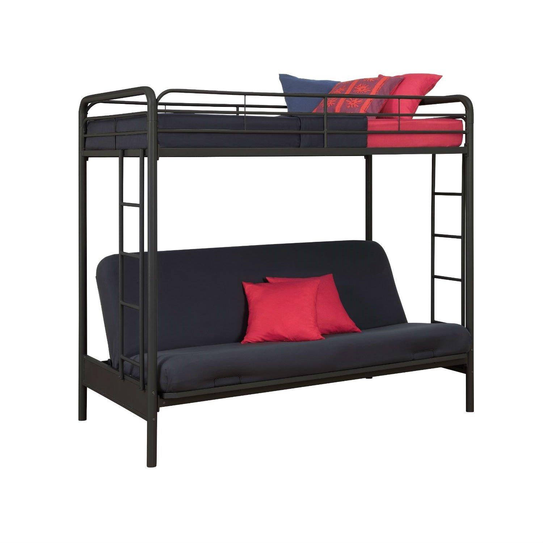 Twin Over Full Futon Bunk Bed Sleeper Sofa In Black Metal