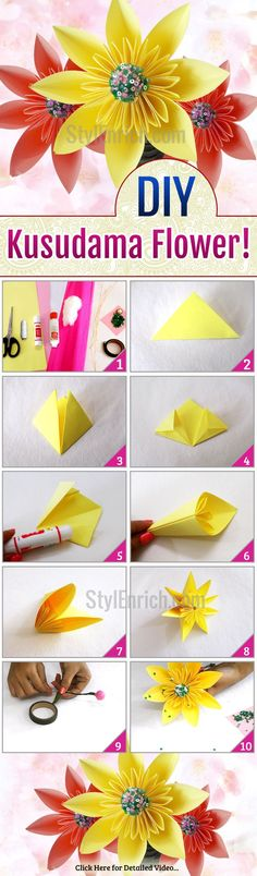 Want to know how to make beautiful super easy diypaperflowers here are the step by step instructions to understand how to make easy paper flowers enjoy this diy origami kusudama flowers mightylinksfo