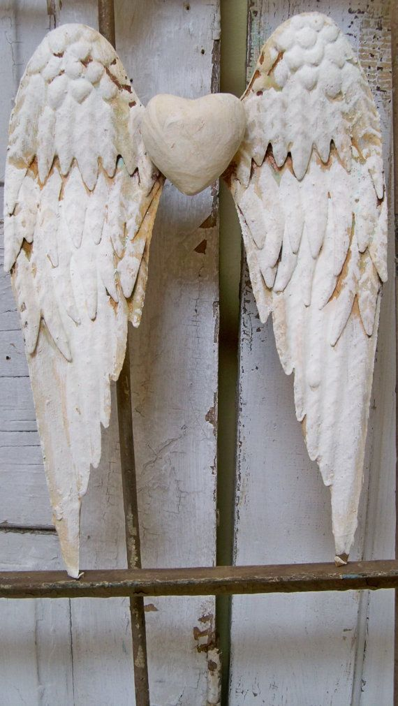 Feather Angel Wings Wall Decor : White wings rusty metal with heart shabby chic cottage