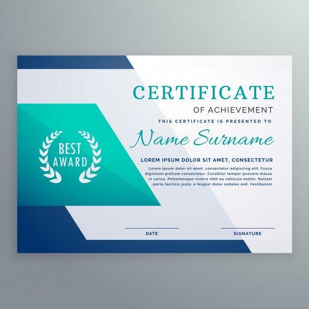 Download Blue Certificate Design Template In Geometric