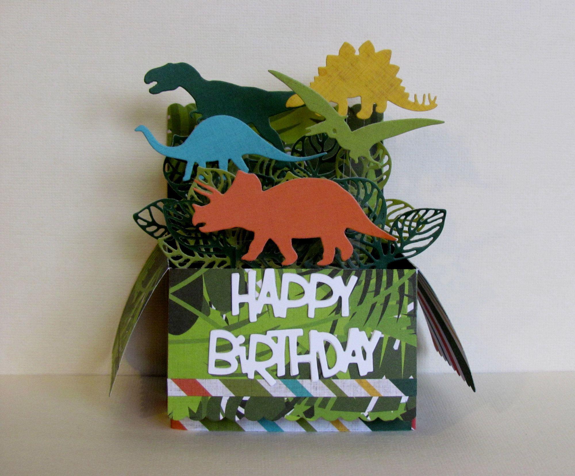 Dinosaur Pop Up Box Card Happy Birthday Card Children S Etsy Pop Up Box Cards Pop Up Card Templates Card Box