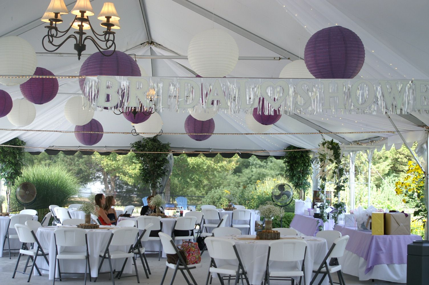 A purple and white themed bridal shower!