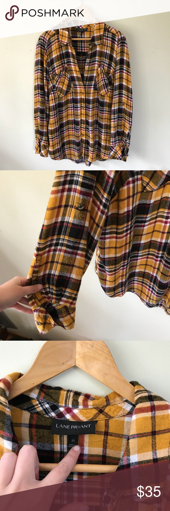 4f08be83dbc Lane Bryant Mustard Yellow Plaid Flannel Shirt Lane Bryant Mustard Yellow  Plaid Flannel Button Down Long Sleeve Shirt Size 22 Pilling Lane Bryant  Tops ...