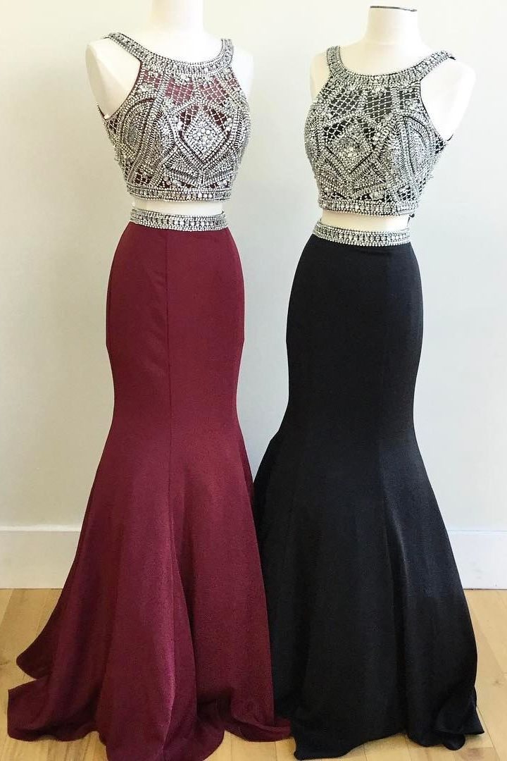 Two Piece Sparkly Sequins Mermaid Burgundy/Black Prom ...