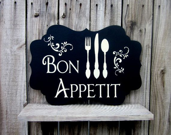 Bon Appetit Sign, Painted Wood, Kitchen Wall Decor, Dining Sign ...