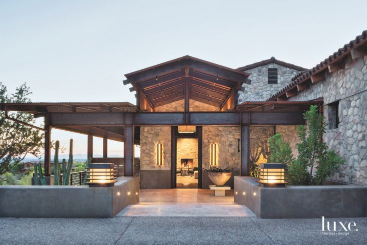 Transitional Scottsdale Home with Asian Influences and Stone