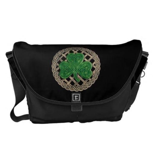 Black Shamrock And Celtic Knot Large Messenger Bag....nice