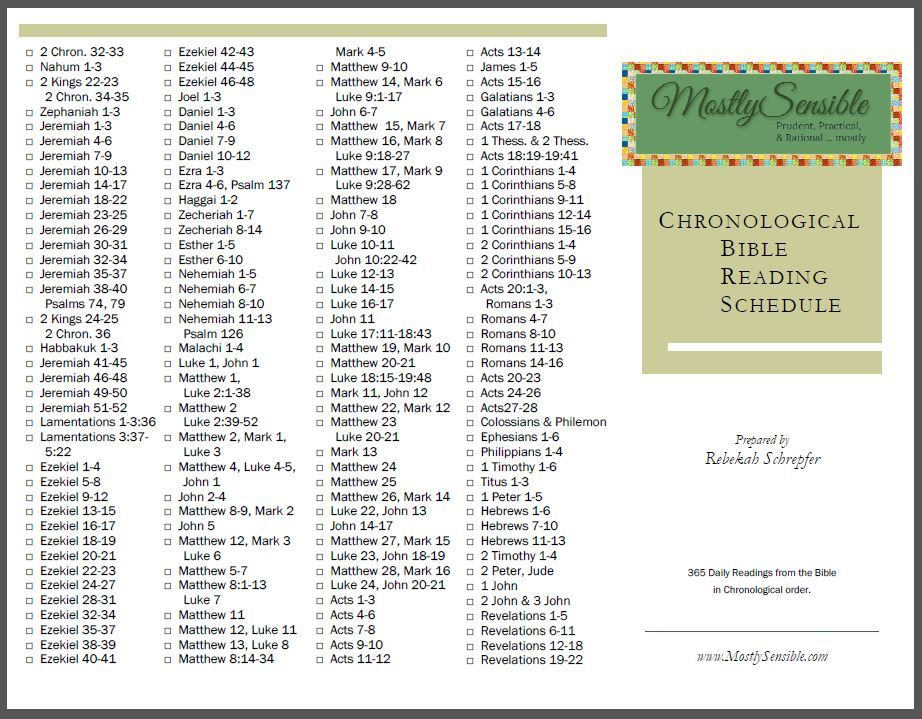 Printable Chronological Bible Reading With Images Bible