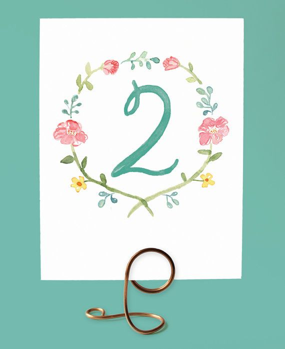 Watercolor Flower Table Numbers Watercolor Wreath Table Numbers
