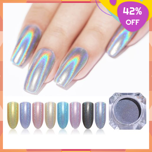 Holographic Nail Powder Nail Art Decorations Laser Glitter Shimmer Chrome Pigment Manicure Shining Holographic Nail Powder Holographic Nails Powder Nails