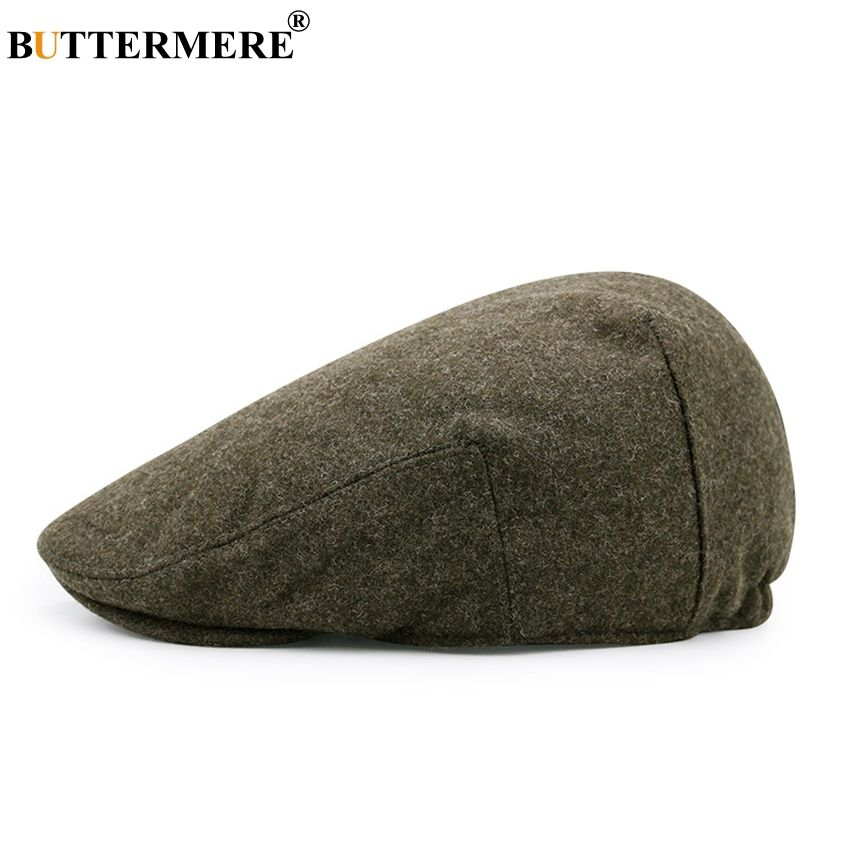 Buttermere Army Green Flat Cap Men Winter Woolen Beret Fitted Thick Warm Hat Female Retro Duckbil Cabbie French S Hat Fashion Flat Cap Men Baby Girl Hair Clips