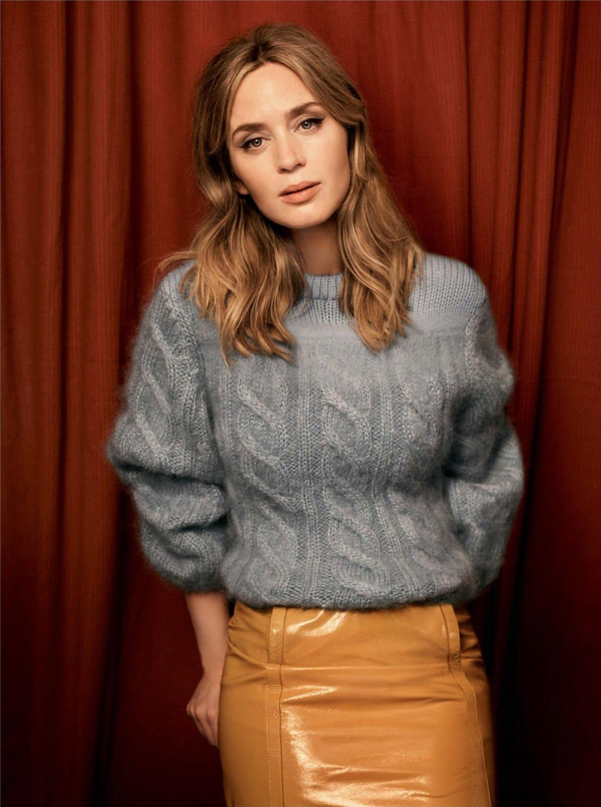 soft grey cabled sweater and light caramel leather skirt   Emily Blunt for Vogue UK, November issue