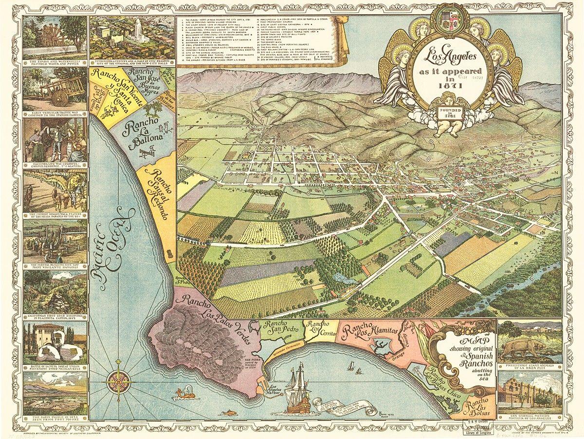 Vintage Map Los Angeles California  Vintage Maps And Los - Jo mora los angeles map