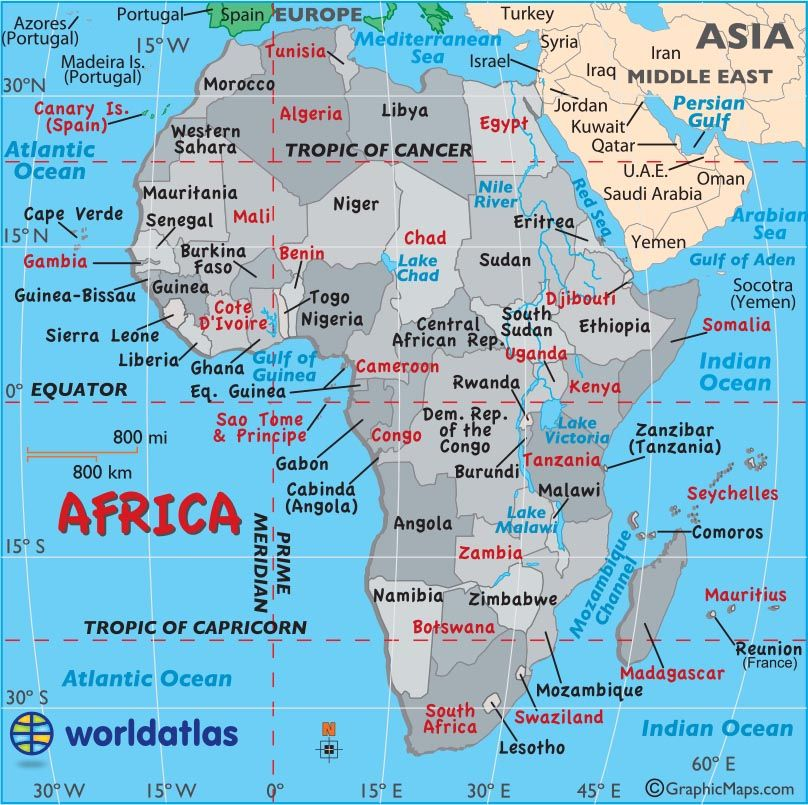 Large Map Of Africa Easy To Read And Printable Maps Pinterest - Easy to read world map