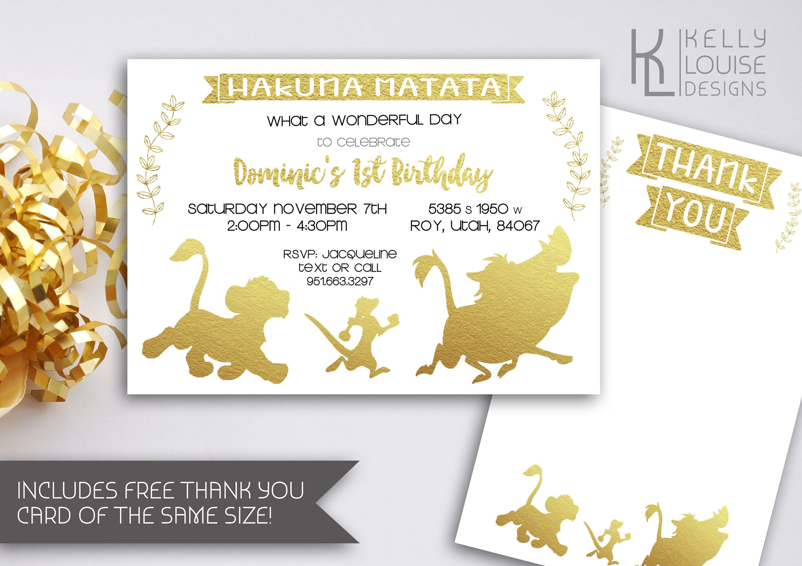 Gold Lion King Birthday Invitation | Gold Lion King Baby Shower ...