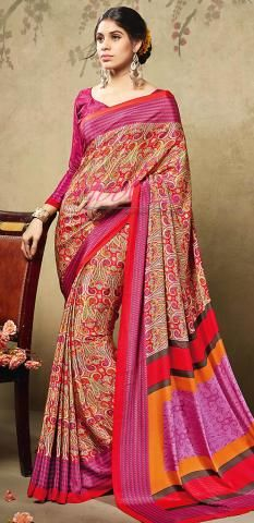 Traditional Printed Crepe Silk Saree Pink Shopping Online BZ5051D77074