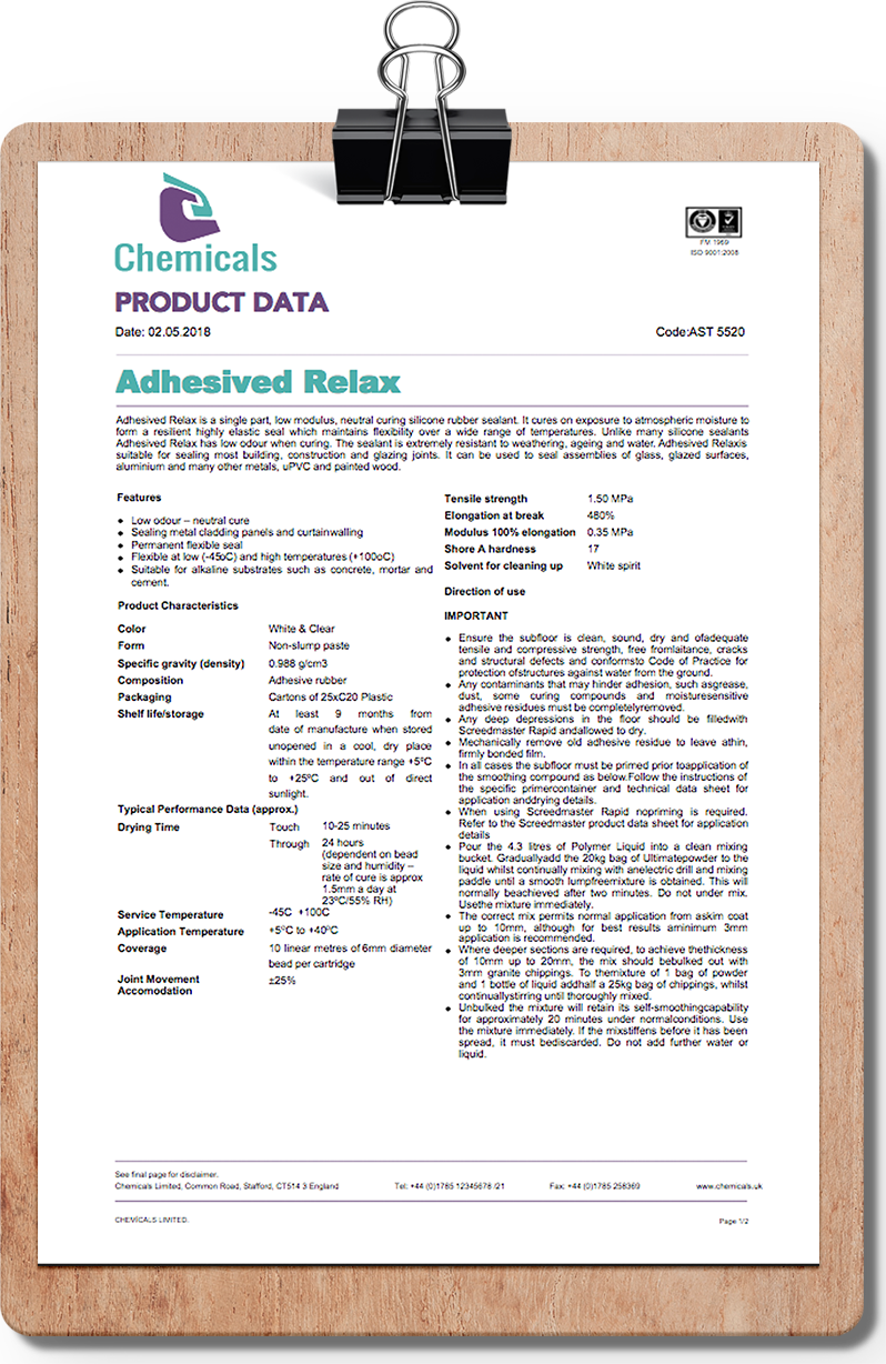 Chemical Adhesive Datasheet Template This free product