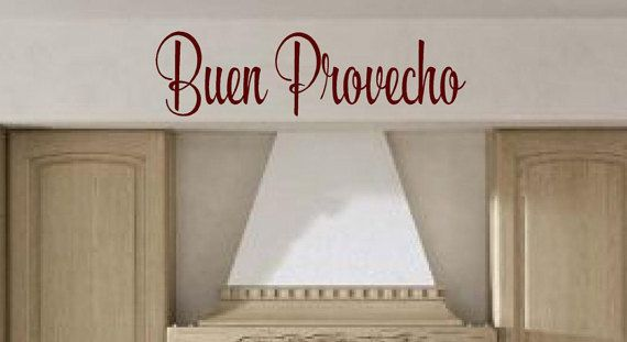 Buen Provecho Spanish wall decal  Bon Appetit Vinyl decals kitchen cooking wall decal quotes stickers decor dining room family food art is part of cooking Quotes In Spanish - If you need a different size contact us for a quote This decal will add elegance to any wall  We have many colors to choose from  Add your color choice to the payment section at the bottom when checking out  ABOUT OUR WALL DECALS Each decal is made of high quality, selfadhesive and waterproof vinyl  Very easy to apply and just as easy to remove, when you are ready to change just peel off  Our decals can be applied to any clean, smooth and flat surface  Put them on your walls, windows, wood and much, much more  So much easier than painting  It has the look of 3 coats of paint  SHIPPING All items are cut as ordered  Orders ship within 35 business days after receipt of payment  (ADDITIONAL INFORMATION) Custom Orders We Love to do custom orders  Email us for a quote