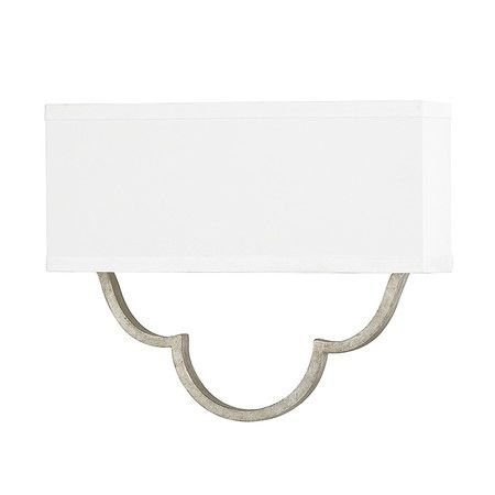 A Refined Addition To Your Dining Room Or Den This Lovely Wall Sconce Showcases Crisp White Shade And Antique Silver Toned Finish