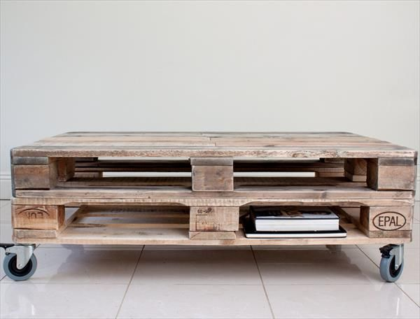 DIY Euro Pallet coffee table with wheels - DIY Euro Pallet Coffee Table With Wheels DYI Koffietabel Met