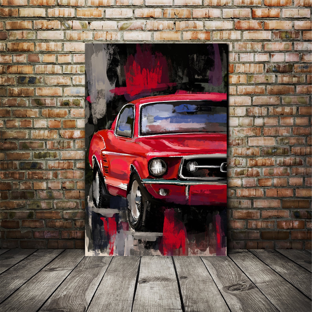 Red Classic Ford Mustang Automotive Decor Large Wall Art Etsy In 2020 Automotive Decor Automotive Art Car Painting