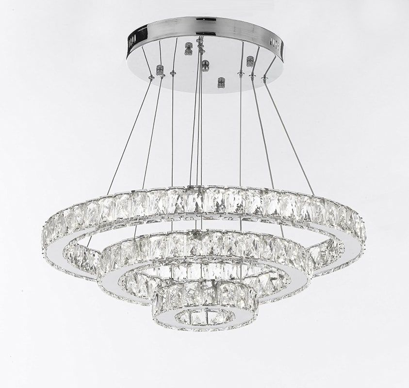 Gallery T22 2937 Crystal Elipse 3 Light 35 Wide Led Crystal Ring