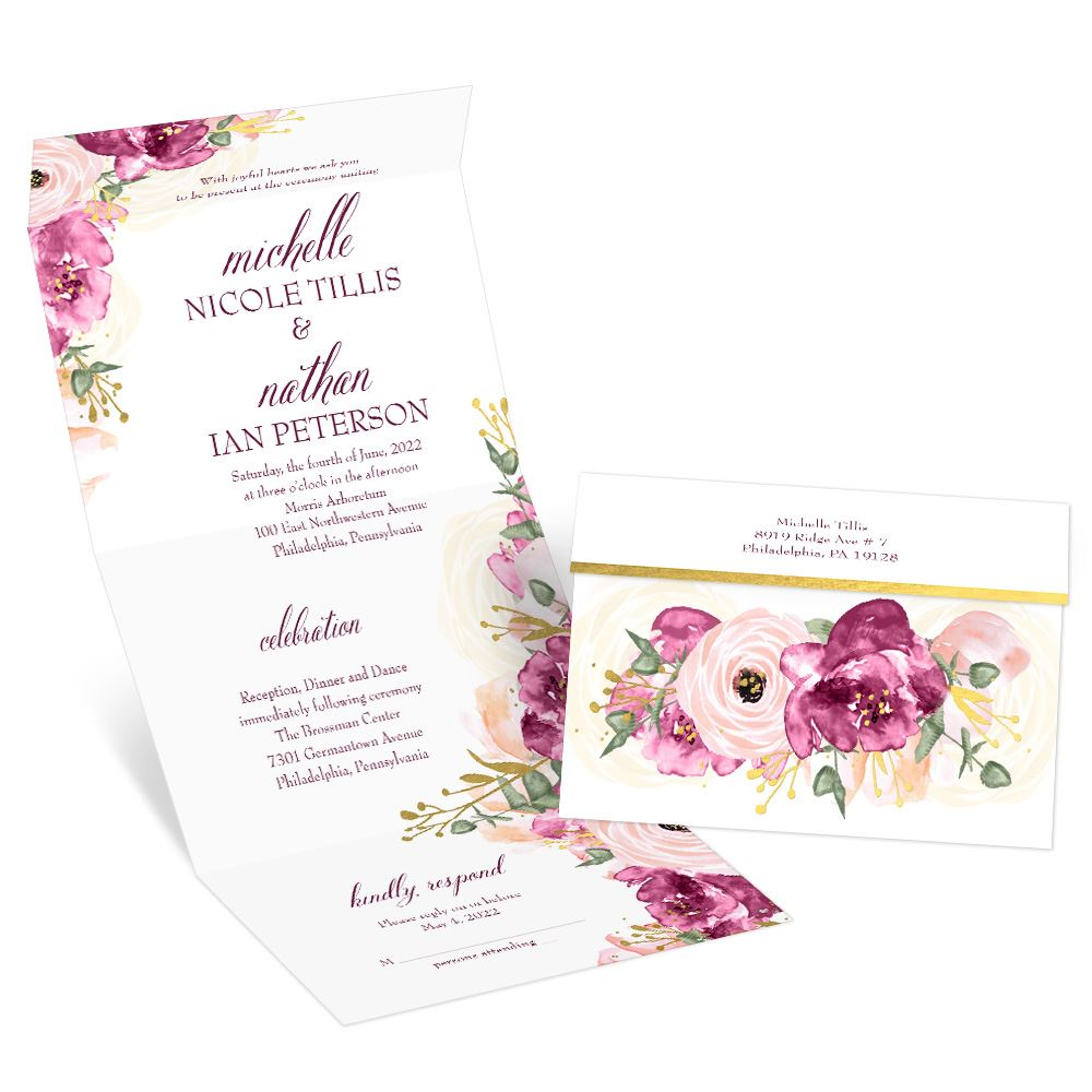 Garden Romance Seal And Send Invitation Ann S Bridal Bargains Ann S Bridal Bargains Cheap Wedding Invitations Floral Wedding Invitations