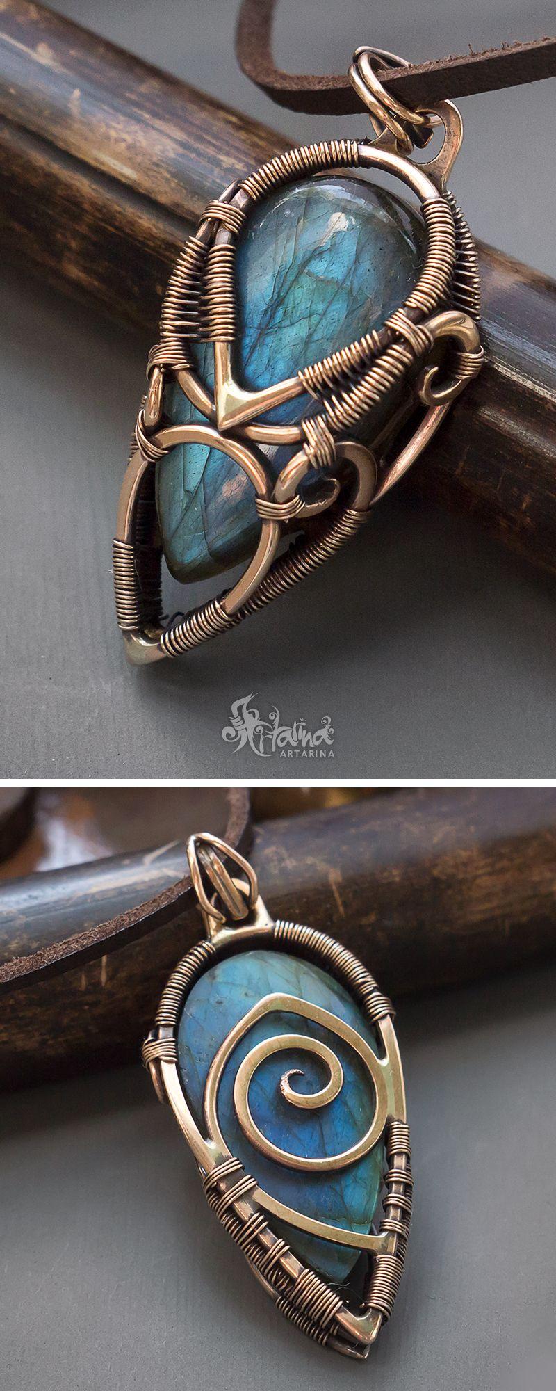 Blue labradorite wire wrapped bronze pendant dijes pinterest blue labradorite wire wrapped bronze pendant aloadofball Gallery