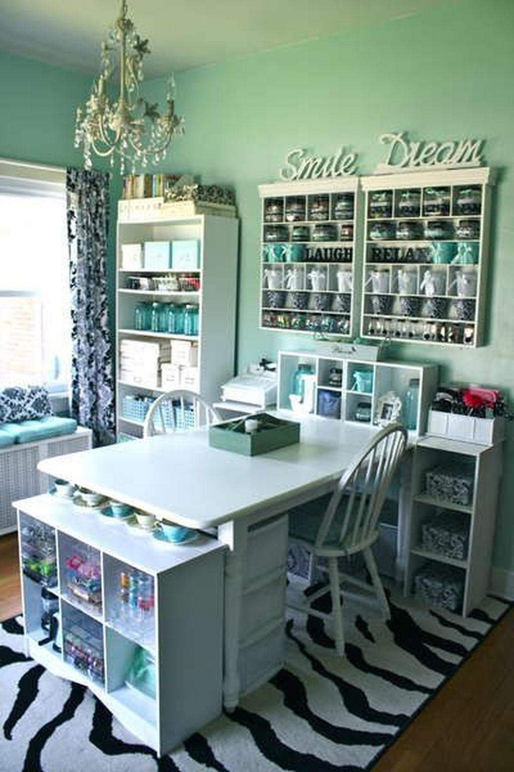 45 Gorgeous Colourful Organizing Sewing Room Ideas For Inspiration images