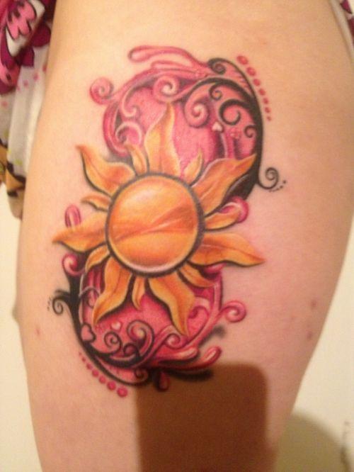 Rapunzel Sun And Swirls Tangled Tattoo Pretty Tattoos Sun Tattoo