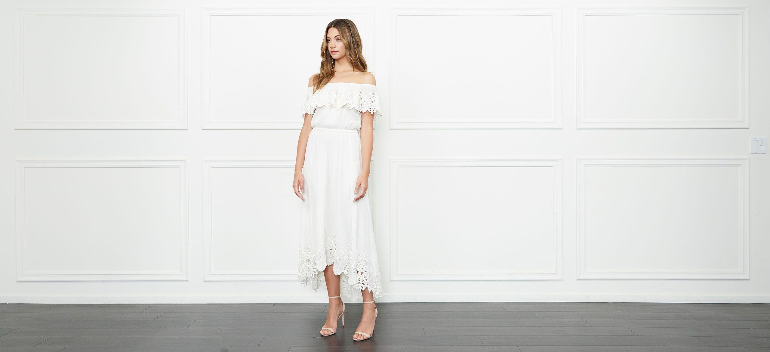 Rachel zoe halsey offtheshoulder eyeletdetail highlow dress