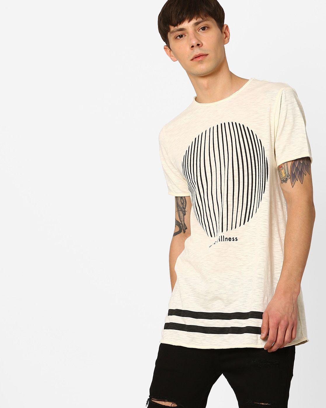 31486e125090b9 AJIO Pigment Print Longline T-Shirt   Men's T-Shirt   T shirt, Long ...