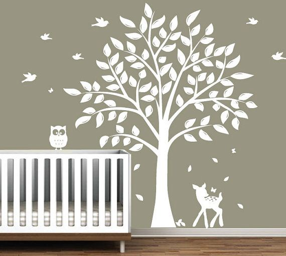 Nursery Tree Decal Vinyl Wall Decals With Erflies Birds Fawn