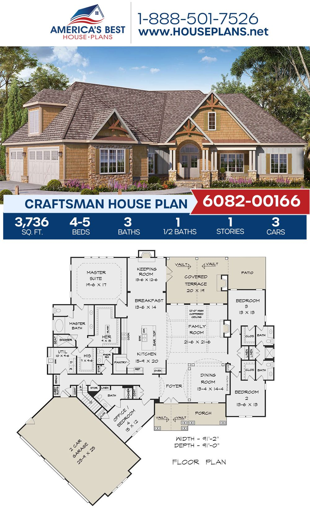 House Plan 6082 00166 Craftsman Plan 3 736 Square Feet 4 5 Bedrooms 3 5 Bathrooms In 2020 Lake House Plans Affordable House Plans Craftsman House Plans