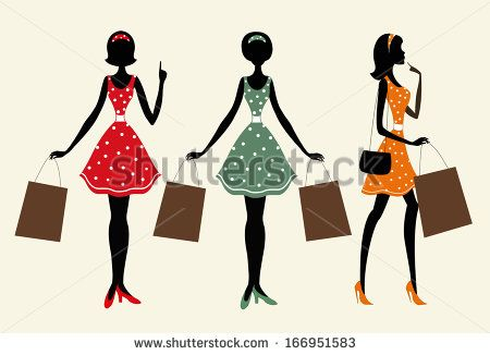 9422545309b Silhouettes Of A Women With Shopping Bags. One Of Them Is With Her ...