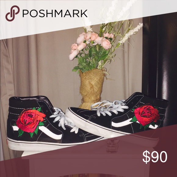 f7fba96588a1 Custom Rose Embroidery Vans Custom Rose Embroidery Vans. New rose design  for your Vans. The shoes shown are not for sale