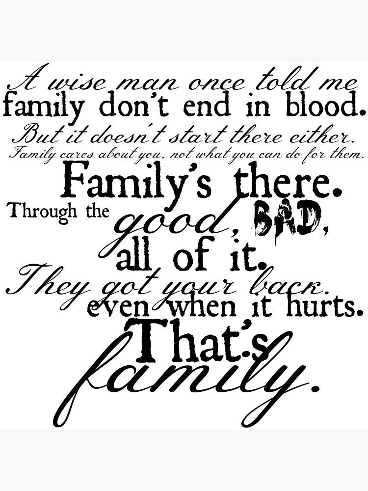 'Family Don't End in Blood' Canvas Print by Hannah Johnson